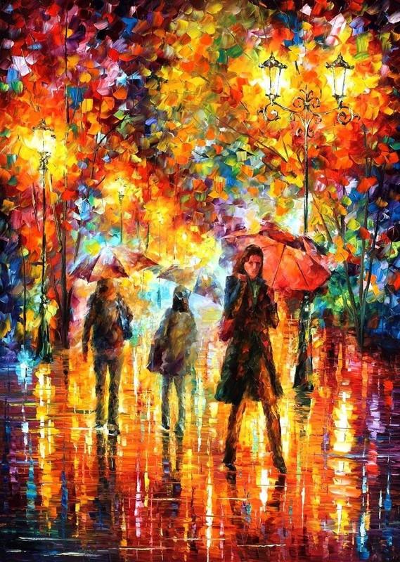 Peintures de l onid afremov hymne l 39 automne for Peintures couleurs