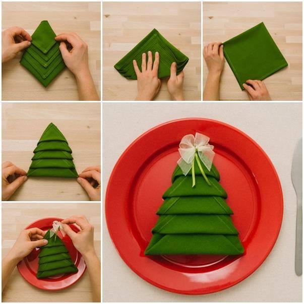 Plier Une Serviette De Table En Joli Sapin De Noël