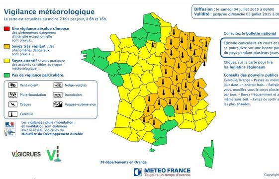 Carte Vigilance Orange Bourgogne.Carte Vigilance Site Meteo France 04 Juillet 2015